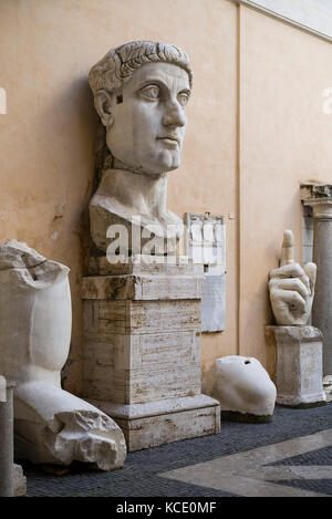 Rome. Italy. Remains of the colossal statue of Roman Emperor Constantine I, The Great (ca. 272-74-337 AD), 313-324 - Stock Photo
