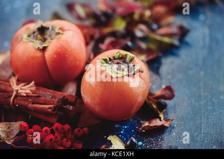 Ripe persimmons on a dark wooden background with autumn leaves, berries and cinnamon. Flat lay with copy space. - Stock Photo