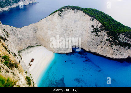 Zakynthos, Navagio Beach, Shipwrack Cove - Stock Photo