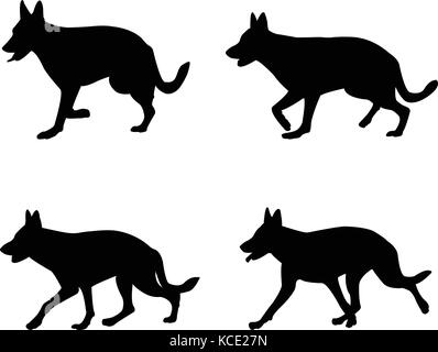 german shepard silhouettes - vector - Stock Photo
