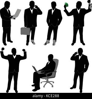 businessman silhouettes collection - vector - Stock Photo