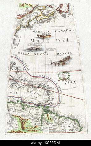 1688, Coronelli Globe Gore Map of NE North America, the West Indies, and NE South America - Stock Photo