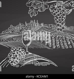 Vintage wine and landscape on chalkboard. Hand drawn healthy food sketch. Black and White Vector Drawing on Blackboard. - Stock Photo