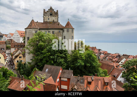 Meersburg's Old Castle Castle (Altes Schloss) and Lake Constance (Bodensee), Baden-Württemberg, Germany - Stock Photo