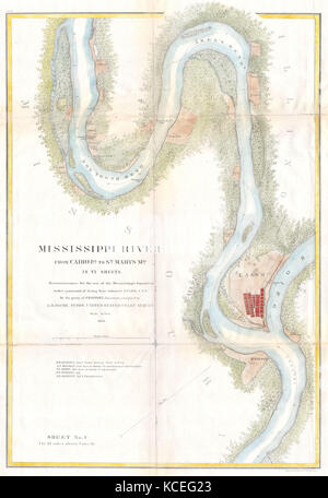 1865, U.S.C.S. Map of the Mississippi River From Cairo, Illinois to St. Marys, Missouri - Stock Photo