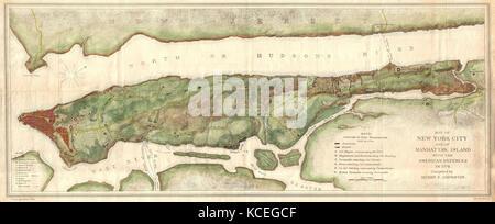 1878, Bien and Johnson Map of New York City, Manhattan Island During the Revolutionary War - Stock Photo