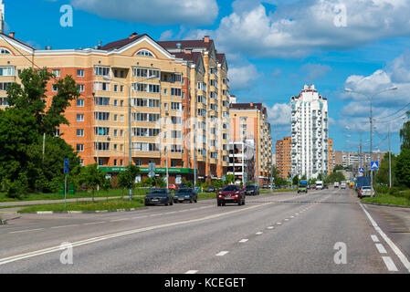 Zelenograd Russia May 26. 2017. New district number 20, view from the street of the pilot Tarasova - Stock Photo