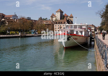 ANNECY, FRANCE, April 8, 2015 : Called ' Venice of the Alps ' because of three streams which travel its old town, - Stock Photo