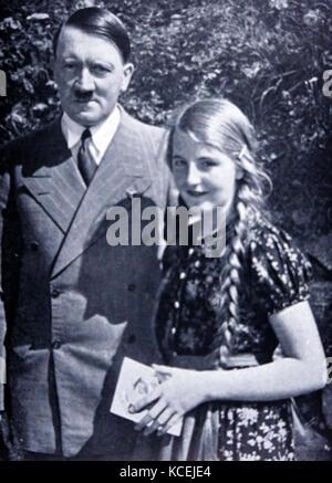 Photograph Adolf Hitler (1889 – 30 April 1945) German politician who was the leader of the Nazi Party, Chancellor - Stock Photo