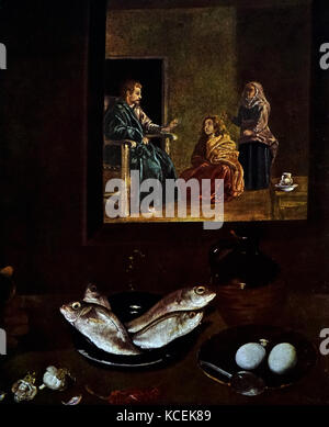 Painting titled 'Christ in the House of Martha and Mary' by Diego Velázquez (1599-1660) a Spanish painter and leading - Stock Photo