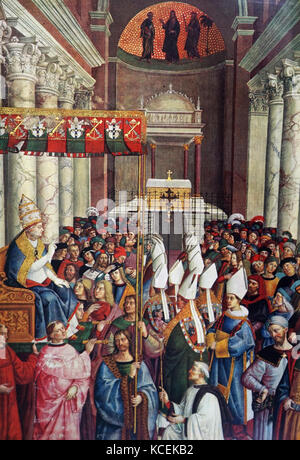 Painting titled 'The Coronation of Enea Silvio Piccolomini as Pope Pius II' by Pinturicchio (1454-1513) an Italian - Stock Photo