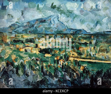 Painting titled 'Mont Sainte-Victoire' by Paul Cézanne (1839-1906) a French Post-Impressionist painter. Dated 20th - Stock Photo