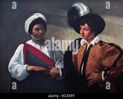 Painting titled 'The Fortune-Teller' by Caravaggio (1571-1610) an Italian painter of the Baroque period. Dated 16th - Stock Photo