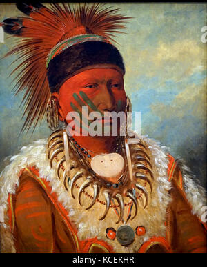 Portrait of The White Cloud, Head Chief of the Iowas by George Catlin (1796-1872) an American painter, author and - Stock Photo