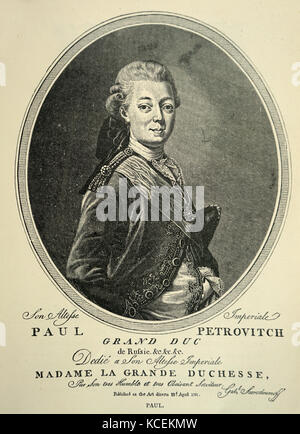 Engraved portrait of Paul I of Russia (1754-1801) Emperor of Russia. Dated 19th Century - Stock Photo