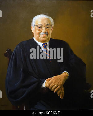 Portrait of Thurgood Marshall (1908-1993) an Associate Justice of the Supreme Court. Painted by Simmie L. Knox (1935 - Stock Photo