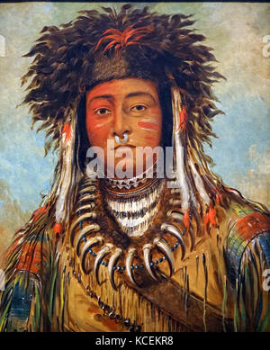 Portrait of the Boy Chief-Ojibbeway by George Catlin (1796-1872) an American painter, author and traveller. Dated - Stock Photo