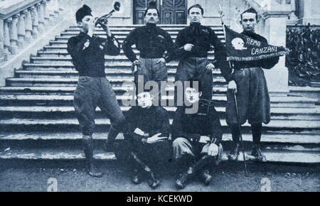 Photograph of Italian Blackshirts Fascist group in Rome. Dated 20th Century - Stock Photo