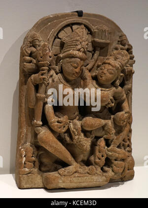 Statue depicting Shiva and Parvati. Shiva is known as the God of Creation, Destruction, Regeneration, Meditation, - Stock Photo