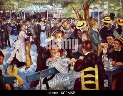 Painting titled 'Bal du moulin de la Galette' by Pierre-Auguste Renoir (1841-1919) a French artist of the Impressionist - Stock Photo