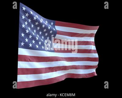 american flag waving in wind black background 3d illustration - Stock Photo