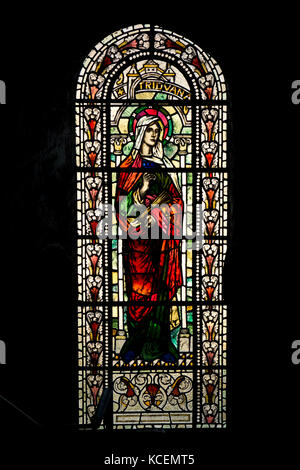 Stained glass window in St Magnus Cathedral, Orkney - Stock Photo