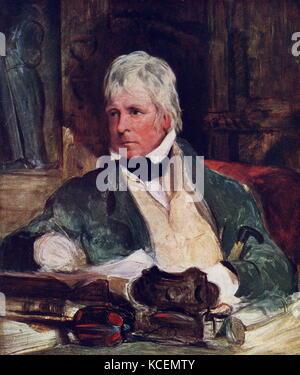 Sir Walter Scott, 1st Bt, by Sir Edwin Henry Landseer, circa 1824. oil on panel. Sir Walter Scott, 1st Baronet, - Stock Photo