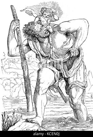 Saint Christopher a Christian martyr killed in the reign of the 3rd-century Roman Emperor Decius (reigned 249–251).mythology, - Stock Photo