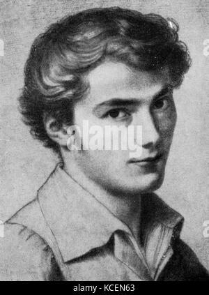 Portrait of Franz Schubert aged 16, by Leopold Kupelwieser (1796–1862) - Stock Photo