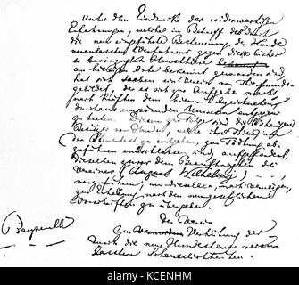 A letter to King Ludwig II of Bavaria (1845-1886) from Wilhelm Richard Wagner (1813-1883) a German composer. Dated - Stock Photo