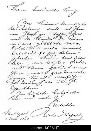 The first letter to King Ludwig II of Bavaria (1845-1886) from Wilhelm Richard Wagner (1813-1883) a German composer. - Stock Photo