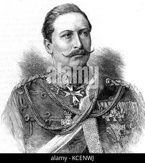 Portrait of Emperor Wilhelm II (1859-1941) King of Prussia and German Emperor. Dated 19th Century - Stock Photo