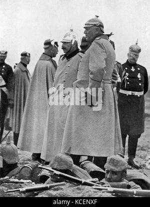 Photograph of Emperor Wilhelm II (1859-1941) King of Prussia and German Emperor, and his Chief of Staff Helmuth - Stock Photo