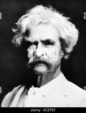 Photograph of Mark Twain (1835-1910) an American writer humourist, entrepreneur, publisher, and lecturer. Dated - Stock Photo