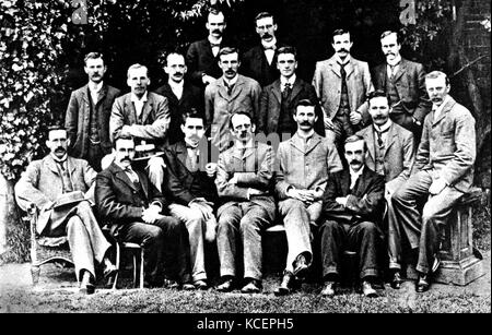 Photograph of J. J. Thompson (1856-1940) and other Cavendish Laboratory research students. Dated 19th Century - Stock Photo