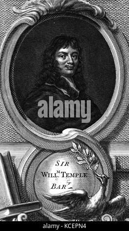 Portrait of Sir William Temple, 1st Baronet (1628-1699) an English statesman and essayist. Dated 17th Century - Stock Photo