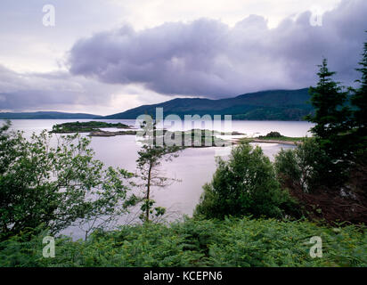 View from track down to Sandaig cottage, near Glen Elg, Lochalsh, Scotland. Eileen More & Loch Dal in foreground, - Stock Photo
