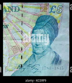 Elizabeth Fry depicted on a paper £5 banknote. This note was replaced in 2016. Elizabeth Fry (née Gurney, often - Stock Photo