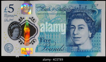 The Bank of England £5 note, is a banknote of the pound sterling. It is the smallest denomination of banknote issued - Stock Photo