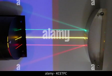 Three parallel beams of light are reflected off a convex mirrored surface: Reflection is the change in direction - Stock Photo
