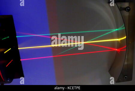 Three parallel beams of light are reflected off a concave mirrored surface: Reflection is the change in direction - Stock Photo