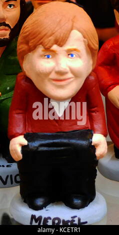 Ceramic figurine of Angela Dorothea Merkel (born 17 July 1954); German stateswoman and former research scientist. - Stock Photo
