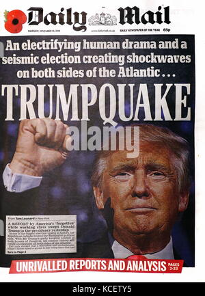 Trump quake' Headline in the British newspaper, the 'Daily Mail' front page, 10th November 2016. After the election - Stock Photo
