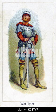 London Cigarette Card Company card 1924 depicting: Walter 'Wat' Tyler (died 15 June 1381) was a leader of the 1381 - Stock Photo