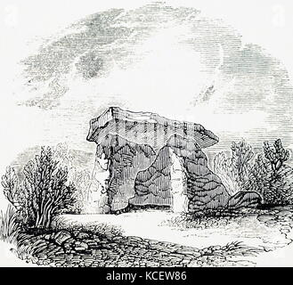 Engraving depicting Kit's Coty House, the remains of a Neolithic chambered long barrow. Dated 19th Century - Stock Photo