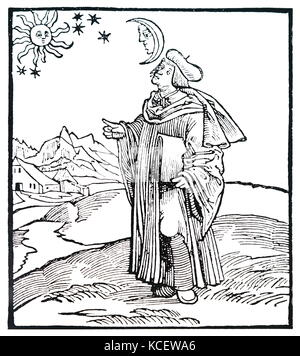 Woodcut depicting an Astrologer by Hans Holbein the Younger (1497-1543) a German and Swiss artist and Printmaker - Stock Photo