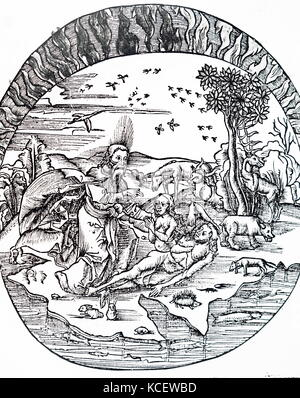 Illustration depicting Thales of Miletus' concept of a flat earth floating above water. Thales of Miletus, a pre - Stock Photo