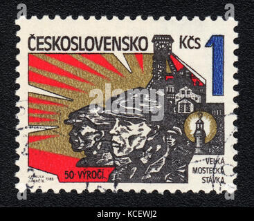A postage stamp printed in CZECHOSLOVAKIA  shows The great Most strike,circa 1982 - Stock Photo