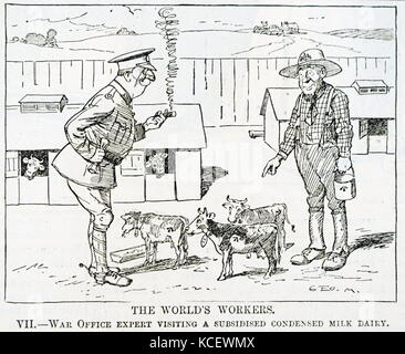Cartoon depicting a war office expert visiting a subsided condensed-milk. Dated 20th Century - Stock Photo
