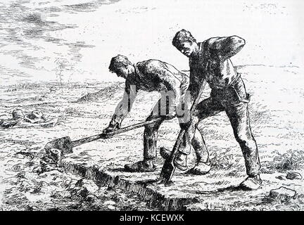 Print of the painting titled 'The Diggers' by Jean-François Millet (1814-1875) a French painter and one of the founders - Stock Photo